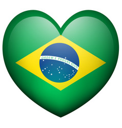 flag of brazil in heart shape vector image