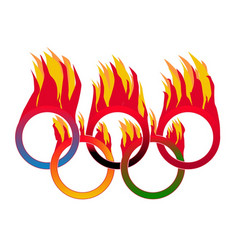 Flame olympic rings vector