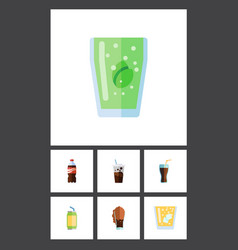 Flat icon drink set of carbonated drink fizzy vector