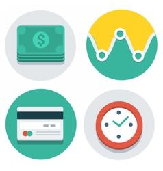 Flat icons dollars watch credit card vector
