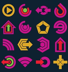 Flat simple navigation pictograms collection Set vector