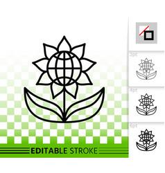 Flower simple black line icon vector