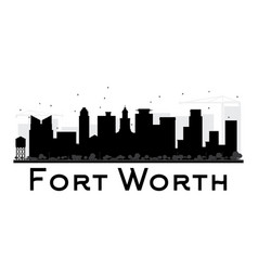 Fort worth city skyline black and white silhouette vector