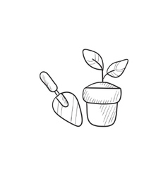 Garden trowel and pot with plant sketch icon vector image