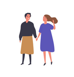 girlfriends holding hands flat vector image