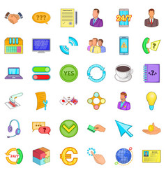 good connection icons set cartoon style vector image