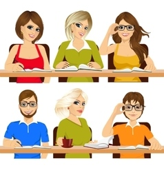 Group of students studying together vector