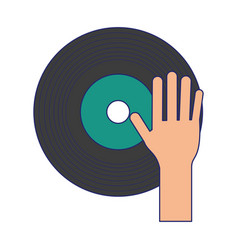Hand on music vinyl cartoon blue lines vector