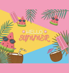 hello summer poster with coconut cocktails vector image