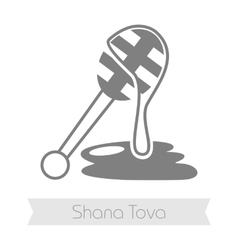 Honey dipper Rosh Hashanah icon Shana tova vector
