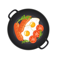 hot frying pan with fried eggs sausages vector image