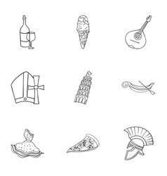 Italy country set icons in outline style big vector