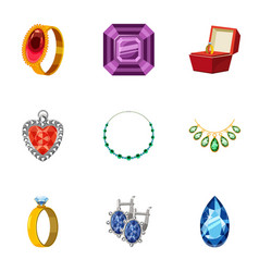 Jewelry store icons set cartoon style vector