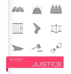 justice icons set vector image