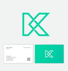k letter logo premium monogram intertwined lines vector image