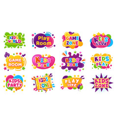 kids entertainment badges game room party labels vector image