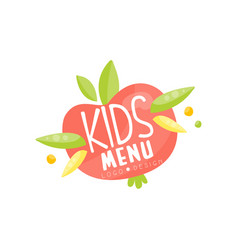 Kids menu logo healthy organic food banner or vector