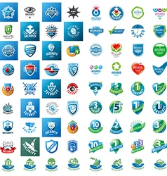 large set of logos security guarantees and vector image