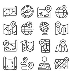 Line map and geo-location icons set vector