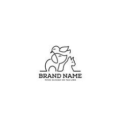 Logo design caring for dogs cats and birds vector
