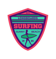 Longboard surfing camp vintage label vector
