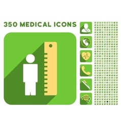 Man Height Meter Icon and Medical Longshadow Icon vector