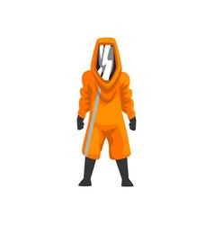 Man in orange protective suit helmet and mask vector