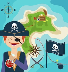 map with a pirate and treasure island Child Game vector image