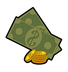 Money coins and bills icon vector