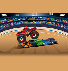 monster truck jumping on cars vector image