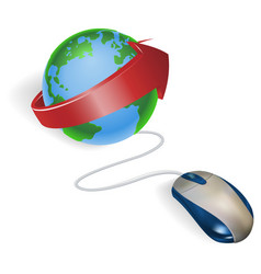 mouse and arrow globe vector image