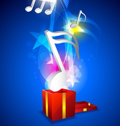 Music floating from gift box vector