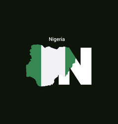 Nigeria initial letter country with map and flag vector