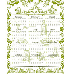 Olives olive oil calendar 2018 design vector