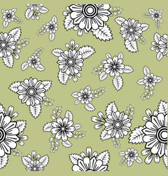 Pattern with groups doodle flowers and leaves vector