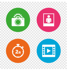 photo camera icon flash light and video frame vector image