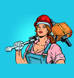 Pop art women road worker builder with jackhammer vector