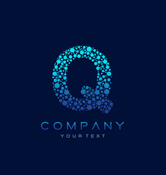 q letter logo science technology connected dots vector image