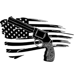 revolver icon in black style with american flag vector image