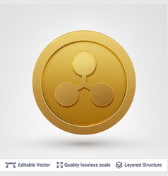 ripple symbol on round coin with drop shadow vector image