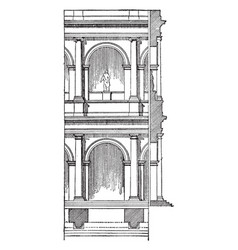 Roman arcade with engaged columns arcade is a vector