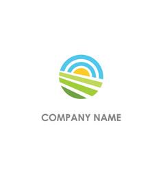 round landscape nature logo vector image