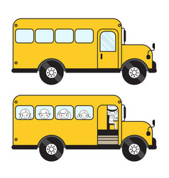 Schoolbus with children and empty closed and vector