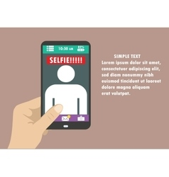Selfie flat design with hand and vector