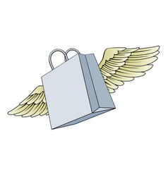 shopping bag flying with wings concept vector image