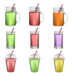 Smoothie fruit juice icons set realistic style vector