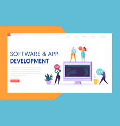 Software app development technology web page vector
