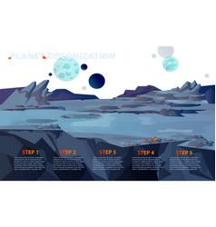 Space landscape for planet colonization vector