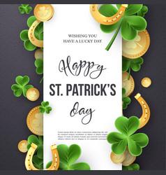 st patricks day greeting holiday design vector image
