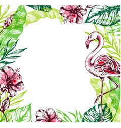 summer tropical background with flamingo vector image